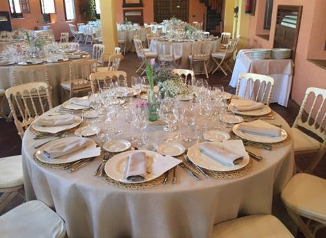 Decoracin mesas banquete Hacienda celebracin boda en Sevilla